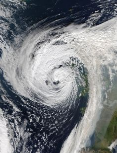 Hurricane Ophelia the day before it hit the west coast of Ireland and England on 15 October. Although weakened into a post-tropical cyclone at this stage, the storm was still powerful enough to cause widespread damage. The highest wind gust was reported at 119 mph (192 kmh) off the coast of Cork at Fastnet Rock, beating the previous record for Ireland, which was 113 mph when the island was battered by hurricane Debbie in 1961.