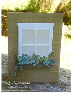 With a bow on top: Stampin' Up! OnStage 2016 display board - Oh so succulent Flower Boxes, Flower Cards, Flowers, Welcome Home Cards, Housewarming Card, Window Cards, Hearth And Home, Thing 1, Stamping Up Cards