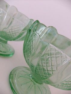 Retro Sundae Dishes - 1950s green glass