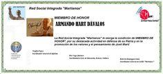 Martianos. Armando Hart Dávalos. Miembro de Honor