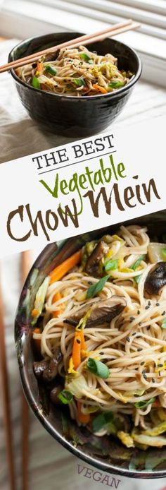 Produce On Parade - The Best Vegetable Chow Mein - These perfectly textured noodles are infused with a homemade Asian sauce and tangled with sauteed Napa cabbage, carrots, and rich Shiitake mushrooms.