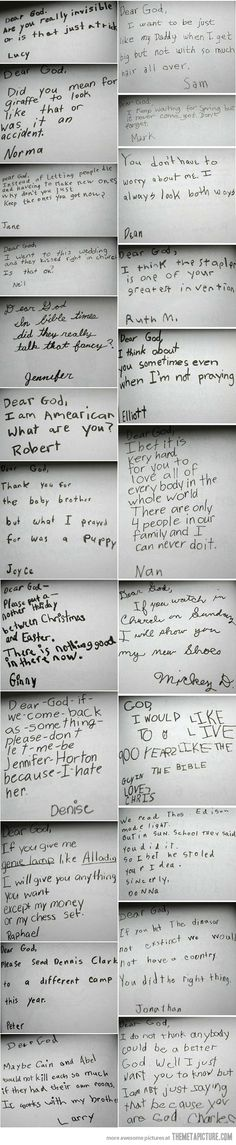 I love the raw, sweet humanity within children :) letters to God (found on the Internet)