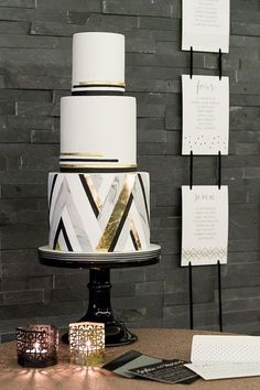Geometric metallic chevron wedding cake with monochrome black and white Olofson Design, photo by Fiona Kelly