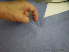 rematar-escote-V - Best Pins Live Sewing Basics, Sewing Hacks, Sewing Tutorials, Tutorial Sewing, Tailoring Techniques, Sewing Techniques, Dress Sewing Patterns, Clothing Patterns, Sewing Clothes
