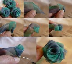 How to make a delicate rose out of organza. So pretty.