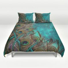 Teal Peacock Duvet Set Peacock Bedding-Teal by FolkandFunky