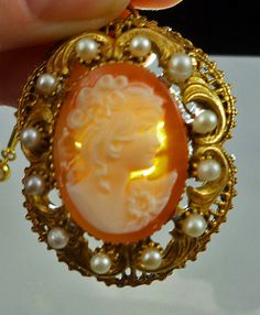 Vintage Victorian Style Carved Shell Cameo by SGGJewelryBoutique, $48.00