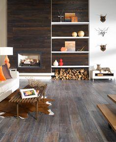 our dark floors, pale walls, sleek furniture and bookshelves, calfskin rug, modern fireplace
