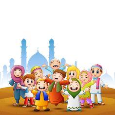 Happy Kids Celebrate For Eid Mubarak With Mosque Background - Happy kids celebrate for eid mubarak with mosque background Premium Vector