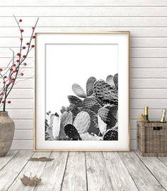 Cactus Print Black and White Photography Modern Minimalist