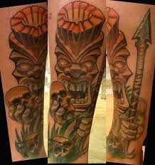 Tiki Tattoo 44 Tropical Tattoo, Hawaiian Tattoo, Body Tattoos, All Tattoos, Tiki Man, Tiki Tiki, Tiki Tattoo, Tattoo Designs, Tattoo Ideas