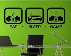 Eat Sleep Game Wall Decal Gaming Geek Nerd Gigaflops Joystick playing Sticker Wall Decal Gaming Decor Gamer ps4 Geek Wall art sticker tr212