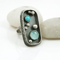 Rustic Sterling Silver Turquoise Chalcedony by BellaBijouJewellery