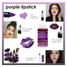 """""""Purple Lipstick"""" by rboowybe ❤ liked on Polyvore featuring beauty, Maybelline, Lime Crime, contestentry, polyvoreeditorial and purplelipstick"""