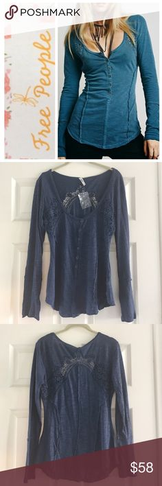 Free People top Free People heart of gold top, dusty blue (color shown best in the last pic).  Long sleeve henley style with buttons in front and croqueted inserts on front near arms and around the back, and raw edge stitching detail.  NWOT Free People Tops Tees - Long Sleeve