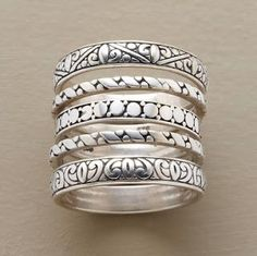 Bali Silver style rings in beautiful patterns