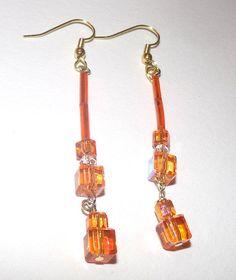 Swarovski Square Crystal Dangle Earrings In Reflective Orange. by susansarttreasures on Etsy