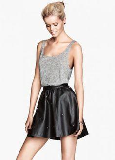 Black Skull Rivet PU Leather Skirt