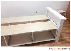 DIY twin bed with drawers. Diagram, photos, materials list and instructions for putting together the DIY twin bed. Twin Bed With Drawers, Platform Bed With Drawers, Diy Platform Bed, Diy Drawers, Storage Drawers, Diy Storage Twin Bed, Stock Cabinets, Under Bed, Diy Bed