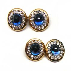 Pair of late 19th century sapphire and diamond cufflinks, c.1890
