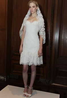 Strapless Short Wedding Dress | Marchesa Fall 2015 Wedding Dresses |Maria Valentino/MCV Photo | Blog.TheKnot.com
