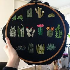 Nearly there. A few more details on the plants and then onto the pots! (Sold) . . . . . . . #embroidery #handembroidery #hoopembroidery #hoopart #art #decor #textiles #sewing #etsy #etsyseller #plants #cacti #succulents #cactus #flowers #nature #craft #handmade #themodernstitchers #dmc