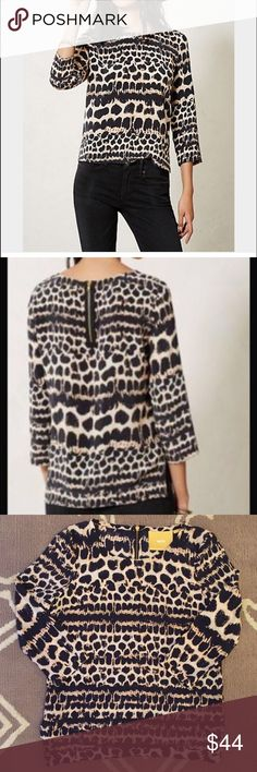 """Anthropologie 100% Silk Linosa Top by Maeve Sz XS 🔹Maeve from Anthropologie  🔹Linosa Top. Back zip.  🔹Size XS   🔹100% Silk  🔹Excellent used condition!  🔹Bust: 18.5"""" across the front, lying flat.  🔹Length: 23"""" from shoulder to hem.  ✳️ Bundle to Save 20%!  ❌ No Trades, Holds, PP, Modeling  🎀 100% Authentic!   ⭐️⭐️ Suggested User • 1300+ Sales • Fast Shipper • Best in Gifts Party Host! ⭐️⭐️ Anthropologie Tops"""
