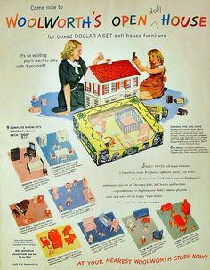 Woolworth's - Original vintage magazine ad for Jolly Twins doll house furniture sold . Vintage Dollhouse, Dollhouse Dolls, Vintage Dolls, Dollhouse Ideas, Miniature Dolls, Vintage Ephemera, Vintage Ads, Vintage Stuff, Vintage Items