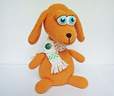 """PDF PATTERN amigurumi little crochet toy """"Red puppy in white scarf"""" step by step tutorial/crocheted little dog for kids"""