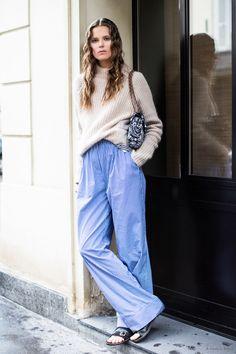 knit & PJ pants. Caro making it work #offduty in Paris. #CarolineBraschNielsen