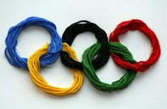 Im gonna make me some Olympic bracelets! (This pin is actually for an Olympics themed party)