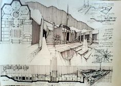 Presentation Layout (plan, section, perspective, notes) - Architectural Sketchs by Ehsan Olian