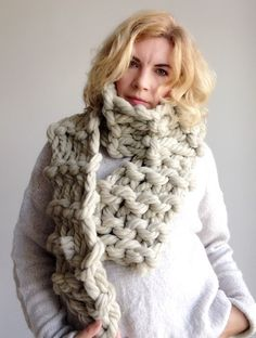 Chunky knit scarf Beige wool giant merino yarn arm knitted cowl Big long bulky winter soft neck warmer Unisex gift for winter holiday Handmade Shop, Etsy Handmade, Handmade Products, Handmade Gifts, Chunky Knit Scarves, Scarf Knit, Wool Yarn, Merino Wool, Etsy Vintage
