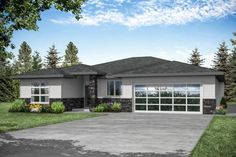 This brand new house contemporary-style plan features open concept living, master suite with walk-in shower, den and covered patio.