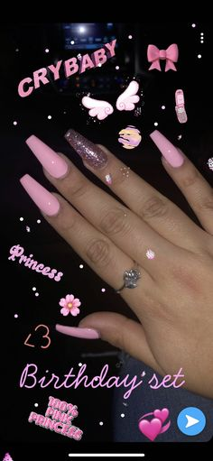 My birthday set pink acrylic nails glitter coffin baddie nailart nailinspiration birthdaynails pretty acrylic coffin nails design you need to try Acrylic Nails Coffin Pink, Summer Acrylic Nails, Coffin Nails Long, Nails Acrylic Coffin Glitter, Pink Acrylic Nail Designs, Pink Acrylics, Acrylic Nail Set, Nail Pink, Pink Coffin