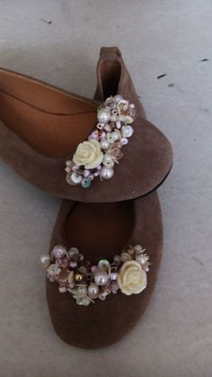 Handmade leather flats with pearls and rose designed by Elli lyraraki