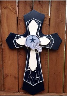 Large Dallas Cowboy Theme  Wood Cross by SignsBYDebbieHess on Etsy, $38.00