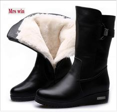 Plus Size Winter Boots Warm Wool Snow Boots Genuine Leather Boots Wedges Non-slip comfortable