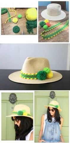 Simple hats can be decorated in many ways Fancy Hats, Cool Hats, Diy Hat, Pom Pom Hat, Summer Hats, Sun Hats, Diy Clothes, Diy Fashion, Headbands