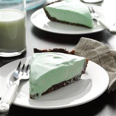 Marshmallow Grasshopper Pie Recipe -After a hearty meal, this light, refreshing pie hits the spot. Chocolate and mint are definitely meant for each other. I make this festive treat at Christmas and whenever my son comes to visit. He loves it with sweet cherries on top.