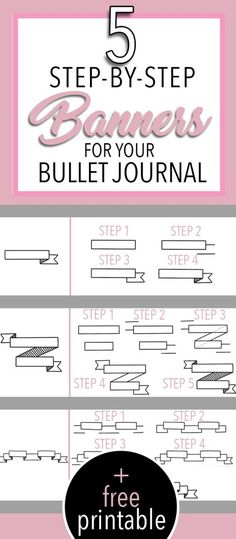 5 Simple Beginner Friendly Banners to Draw in Your Bullet Journal with Step by Step tutorial and free printable practice sheet How To Bullet Journal, Bullet Journal Headers, Bullet Journal Banner, Bullet Journal Themes, Bullet Journal Layout, Bullet Journal Inspiration, Bullet Journals, Journal Ideas, Journaling