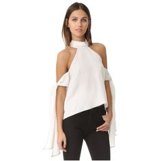 Shakuhachi Contrast Stitching Tie Sleeve Top (175 AUD) ❤ liked on Polyvore featuring tops, white, shakuhachi, long sleeve tops, white halter top, white top and sleeve top