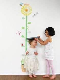 Flower Growth Chart Wall Decal Fabric by KidsFabricWallDecals