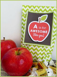 FREE Printable Gift Tag for the Teacher {writtenreality.com} A is for Awesome [like you]