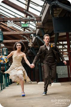http://katforsyth.com/wp-content/uploads/2013/09/Doctor-Who-Whovian-Wedding-50.jpg  I seriously love that fact they are actually running in this photo. Kudos to the photographer!