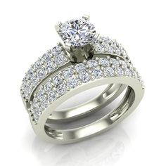 Two Row Solitaire Diamond Engagement Ring Set 14K Yellow or White Gold (G-H,SI1-SI2)