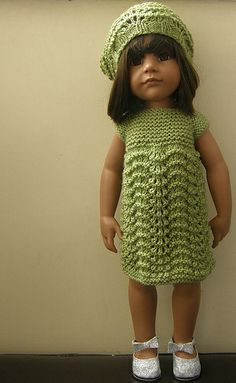Gotz Doll Claudia  this would be cute on Sasha, or any of the little girl dolls- easy to do- Garter stitch top ripple pattern for the rest!