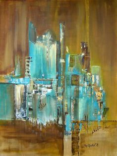 brown and turquoise painting