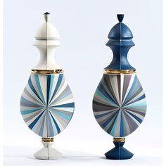 Urns, 2015 Colored porcelain, gold luster 24 X 12 X 30 inches (set) Decorative Objects, Decorative Accessories, Interior Design Images, Deco Furniture, Modern Ceramics, Leaf Art, Ceramic Artists, Kugel, Sculpture Art