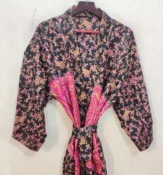 Silk Kimono Robe, Long Kimono, Silk Dress, Indian Silk Sarees, Pure Silk Sarees, Festival Outfits, Festival Clothing, Kimono Fashion, Women's Fashion